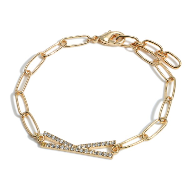 """Gold Chain Initial Bracelet Featuring CZ Accents.   - Approximately 2.5"""" in Diameter"""