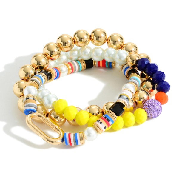"""Set of Three Heishi Bead Bracelets Featuring Gold and Pearl Accents.  - Approximately 2.5"""" in Diameter"""