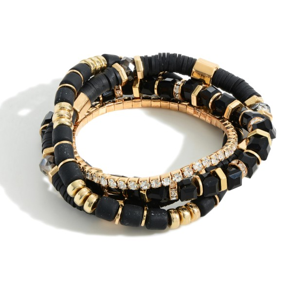 """Set of Three Heishi Bead Bracelets Featuring Gold Accents.  - Approximately 2.5"""" in Diameter"""