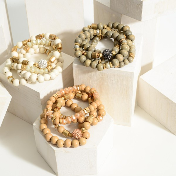 """Set of Three Wooden Beaded Bracelets Featuring Gold Accents.  - Approximately 2.5"""" in Diameter"""