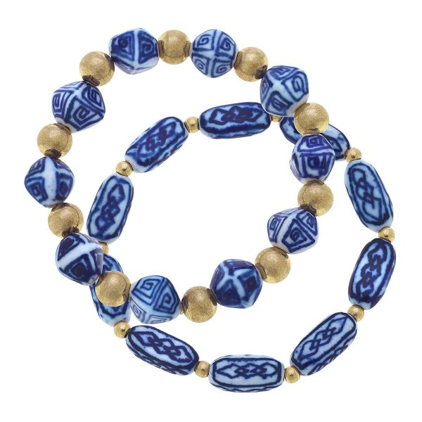 """Set of Two Mediterranean Beaded Bracelet Featuring Gold Accents.  - Approximately 2.5"""" in Diameter"""