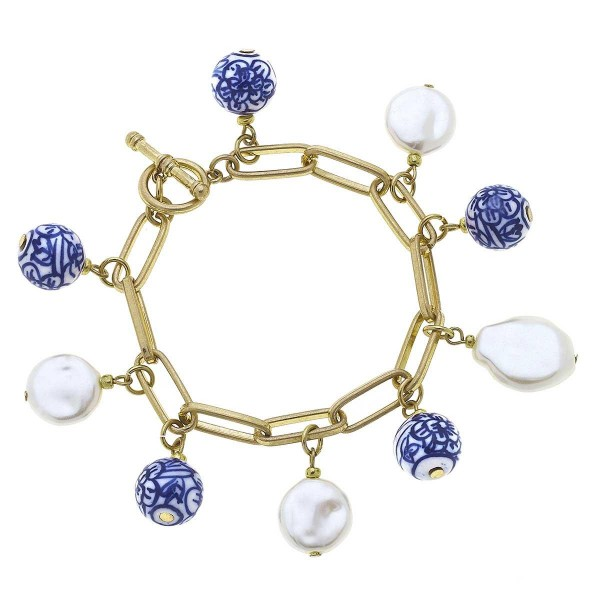 """Gold Chain Link Charm Bracelet Featuring Pearl and Mediterranean Accents.  - Approximately 2.5"""" in Diameter - Toggle Bar Closure"""