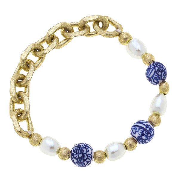 """Mediterranean Beaded Bracelet Featuring Gold Chain Accents.  - Approximately 2.5"""" in Diameter"""