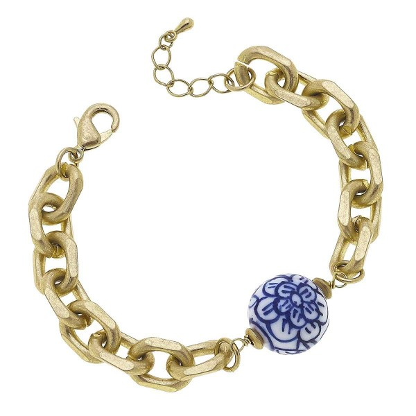 """Gold Chain Link Bracelet Featuring Mediterranean Beaded Accents.  - Approximately 2.5"""" in Diameter"""