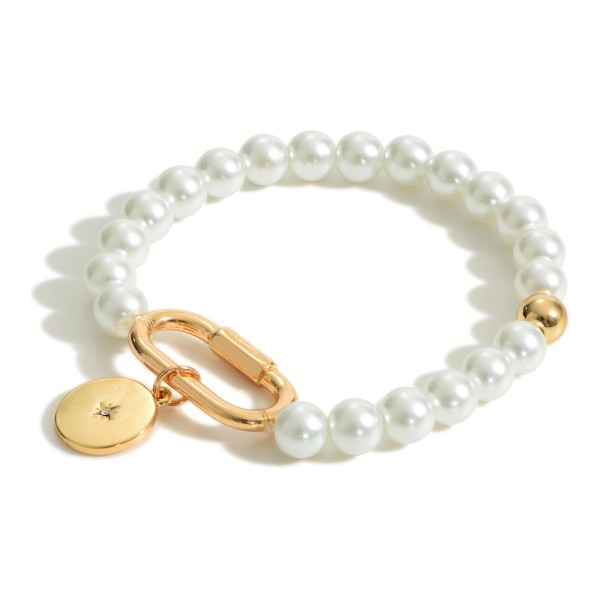 """Pearl Bracelet Featuring Gold Accents.  - Approximately 2.5"""" in Diameter"""
