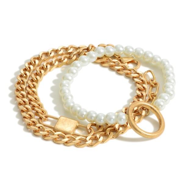 Wholesale set Two Bracelets Including Metal Chain Wrap Bracelet Pearl Bracelet D