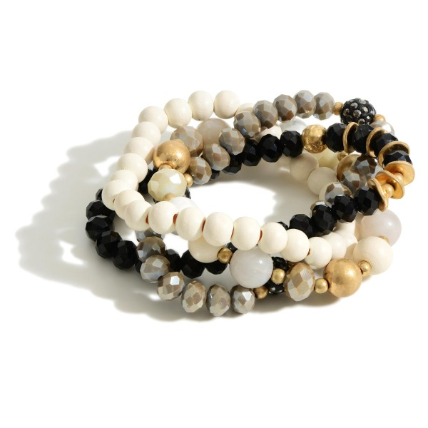 """Set of Four Beaded Bracelets Featuring Gold Accents.  - Approximately 2.5"""" in Diameter"""