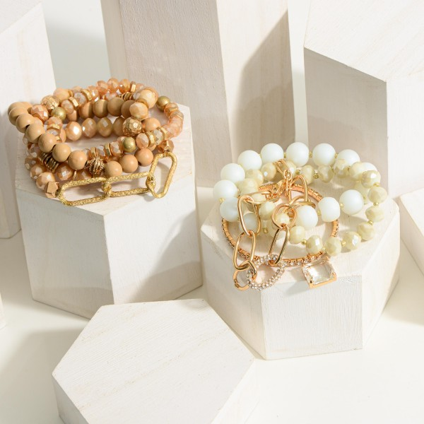"""Set of Three Beaded Bracelets Featuring Gold Accents.  - Approximately 2.5"""" in Diameter"""