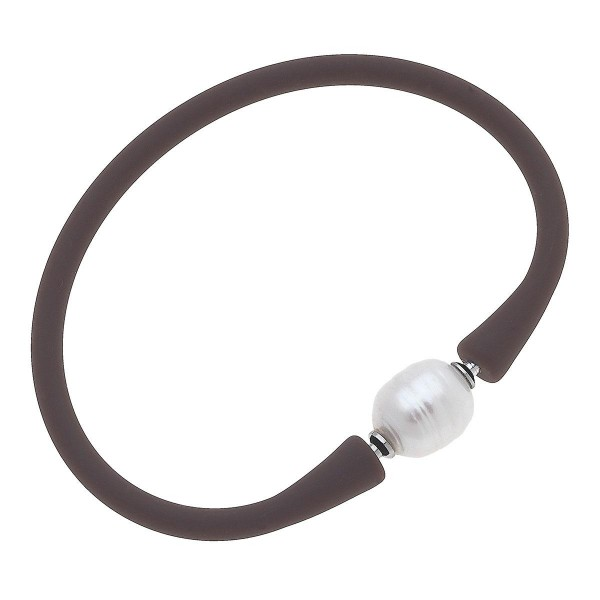 """Silicone Bracelet Featuring Pearl Accent.  - Approximately 2.5"""" in Diameter"""