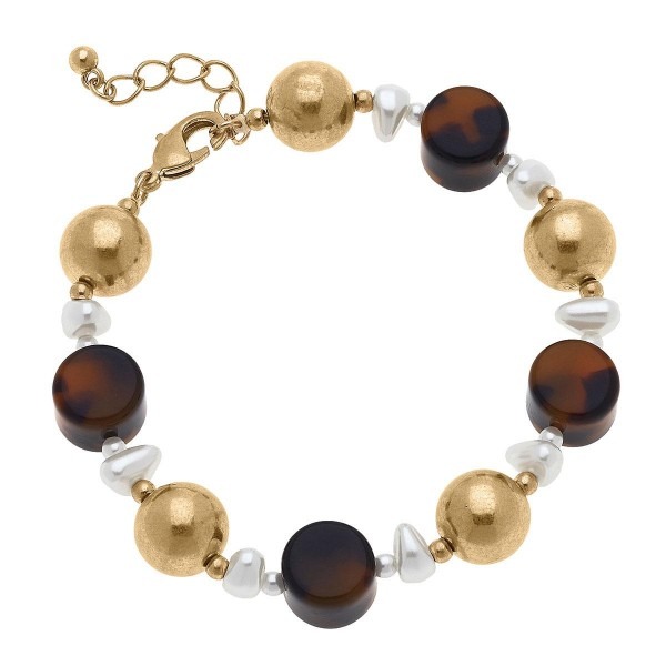 """Gold Beaded Bracelet Featuring Tortoise Shell and Pearl Accents.  - Approximately 2.5"""" in Diameter"""