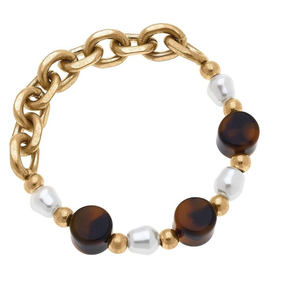 """Gold Chain Link Bracelet Featuring Tortoise Shel and Pearl Accents.  - Approximately 2.5"""" in Diameter"""
