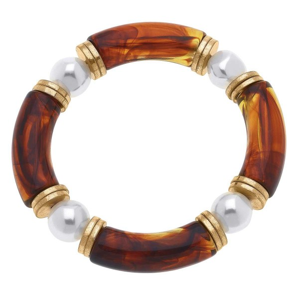 """Beaded Stretch Bangle Featuring Pearl Accents.  - Approximately 2.5"""" in Diameter"""