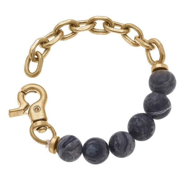 """Gold Chain Link Bracelet Featuring Beaded Accents.  - Approximately 2.5"""" in Diameter"""