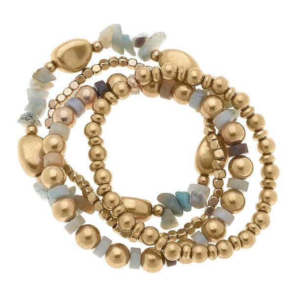 """Set of Four Gold Beaded Bracelets Featuring Natural Stone Accents.  - Approximately 2.5"""" in Diameter"""