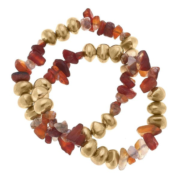 """Set of Two Natural Stone Beaded Bracelets Featuring Gold Accents.  - Approximately 2.5"""" in Diameter"""