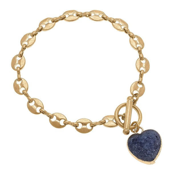 """Gold Chain Link Bracelet Featuring a Heart Pendant.  - Approximately 2.5"""" in Diameter - Toggle Bar Closure"""