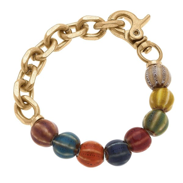 """Multicolor Glass Bead Bracelet Featuring Gold Chain Accents.  - Approximately 2.5"""" in Diameter"""