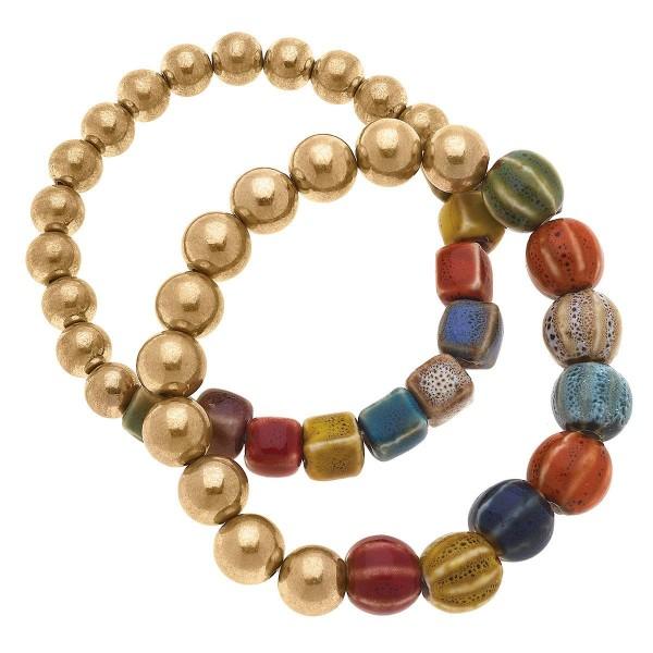 "Gold Tone Stretch Beaded Stack Bracelets  -2pcs/set -Approximately 3"" in diameter"