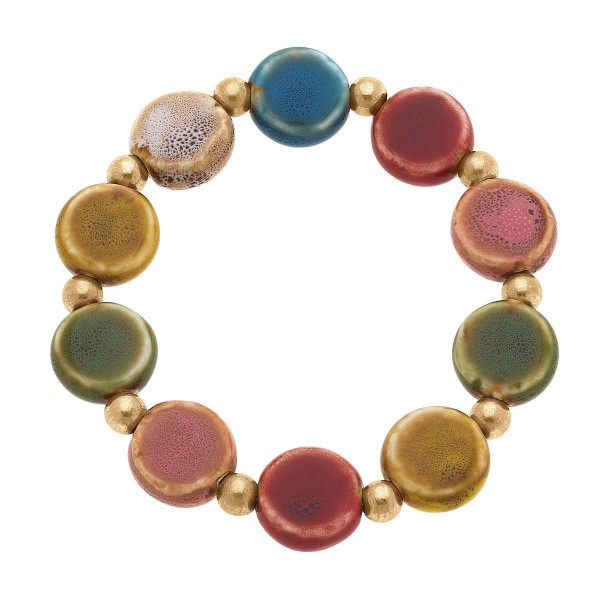 """Beaded Disc Stretch Bracelet with Gold Accents  -Approximately 3"""" in diameter"""