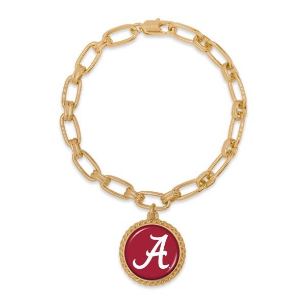 "Alabama Gold Chain Link Charm Bracelet.  - Charm Approximately 1"" in Diameter - Approximately 3"" in Diameter"