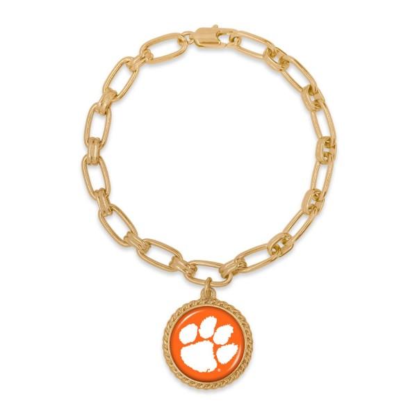 "Clemson Gold Chain Link Charm Bracelet.  - Charm Approximately 1"" in Diameter - Approximately 3"" in Diameter"