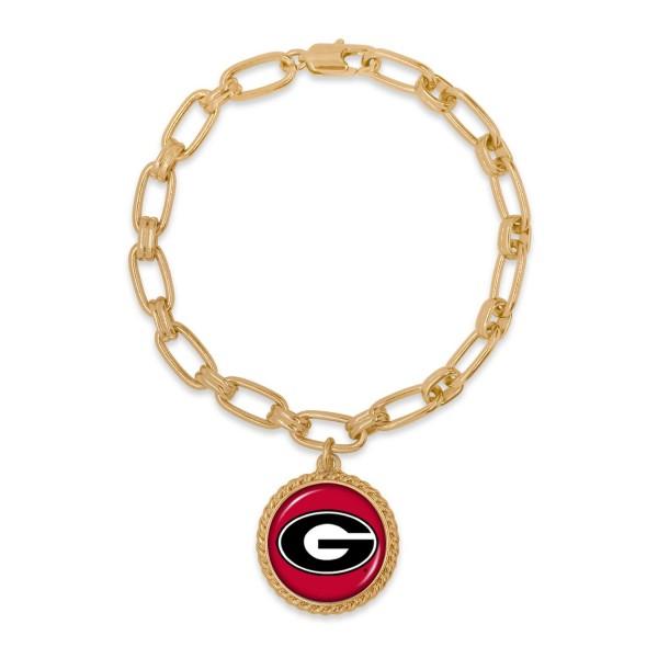 "Georgia Gold Chain Link Charm Bracelet.  - Charm Approximately 1"" in Diameter - Approximately 3"" in Diameter"