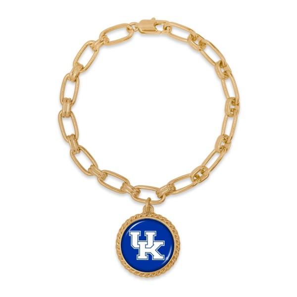 "Kentucky Gold Chain Link Charm Bracelet.  - Charm Approximately 1"" in Diameter - Approximately 3"" in Diameter"