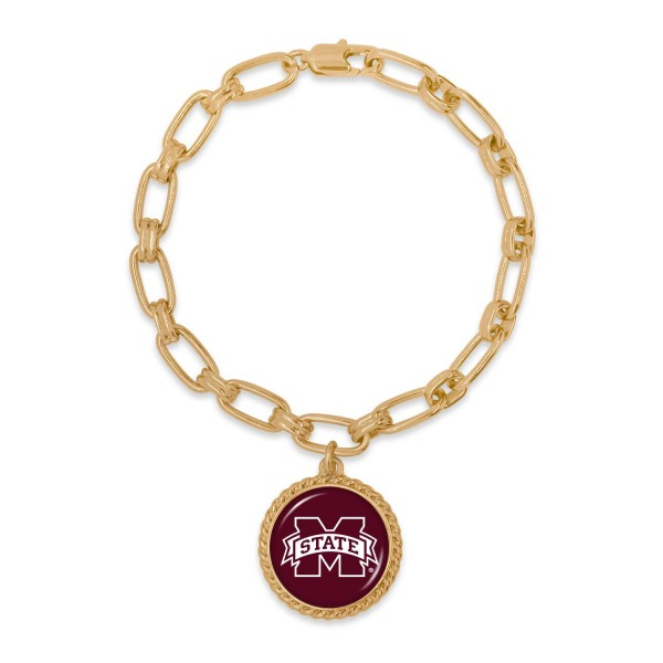 """Mississippi State Gold Chain Link Charm Bracelet.  - Charm Approximately 1"""" in Diameter - Approximately 3"""" in Diameter"""