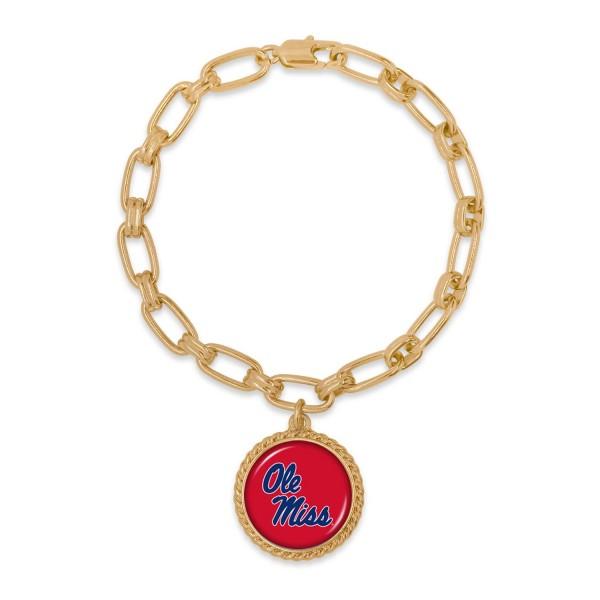 "Ole Miss Gold Chain Link Charm Bracelet.  - Charm Approximately 1"" in Diameter - Approximately 3"" in Diameter"