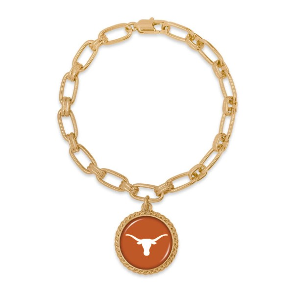 "Texas Gold Chain Link Charm Bracelet.  - Charm Approximately 1"" in Diameter - Approximately 3"" in Diameter"