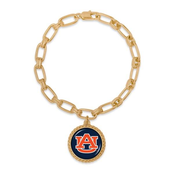 "Auburn Gold Chain Link Charm Bracelet.  - Charm Approximately 1"" in Diameter - Approximately 3"" in Diameter"
