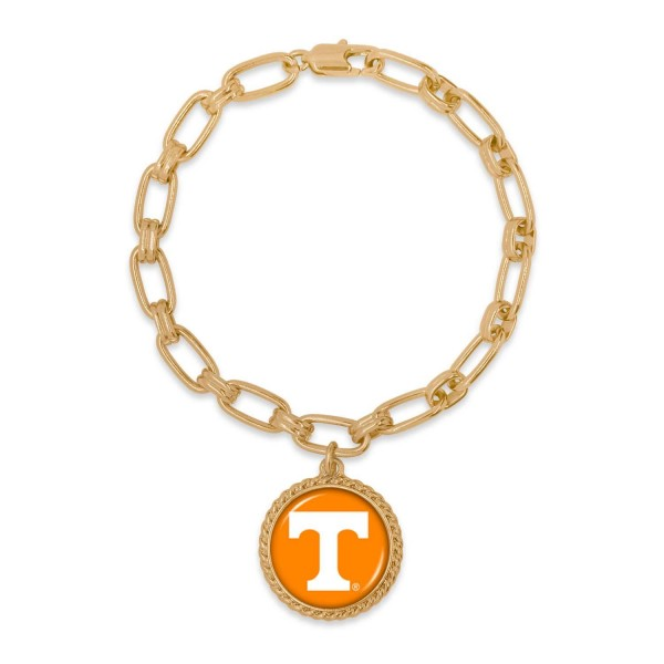 """Tennessee Gold Chain Link Charm Bracelet.  - Charm Approximately 1"""" in Diameter - Approximately 3"""" in Diameter"""