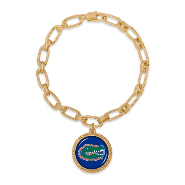 "Florida Gold Chain Link Charm Bracelet.  - Charm Approximately 1"" in Diameter - Approximately 3"" in Diameter"