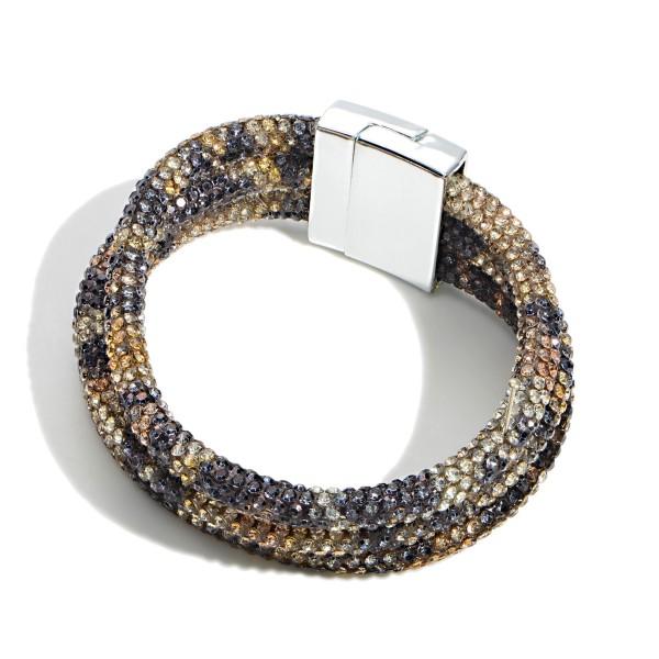 "Three Strand Rhinestone Encrusted Bracelet With Magnetic Closure  - Approximately 3"" Diameter"