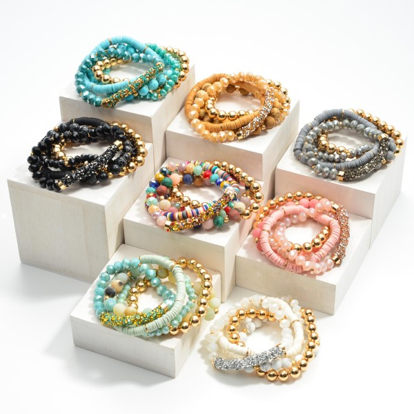 """Set of Five Beaded Bracelets Featuring Rhinestone Encrusted Bar With Heishi and Glass Beads  - Approximately 3"""" Diameter"""