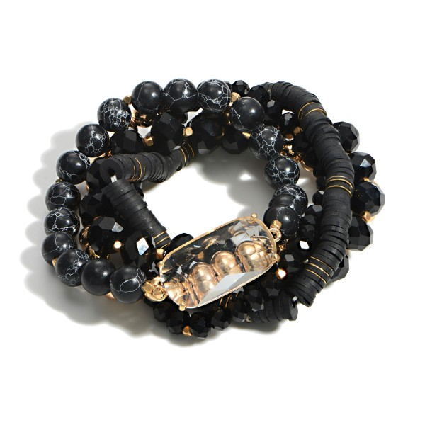 """Set of Five Beaded Bracelets Featuring Crystal Accent With Glass and Heishi Beads  - Approximately 3"""" Diameter"""