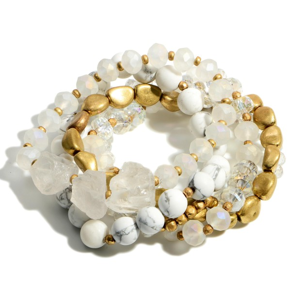 """Set of Five Natural Stone Beaded Bracelets Featuring Crystal and Gold Accents.   - Approximately 2.5"""" in Diameter"""