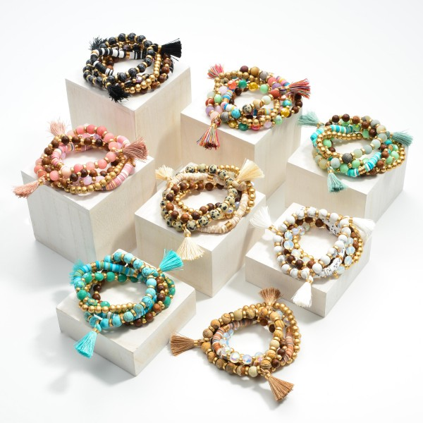"""Set of Five Beaded Bracelets Featuring Tassel Accent and Heishi Beads  - Approximately 3"""" Diameter"""