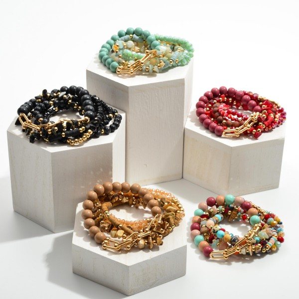 """Set of Six Natural Stone Beaded Bracelets Featuring Heishi Bead and Gold Chain Accents.   - Approximately 2.5"""" in Diameter"""
