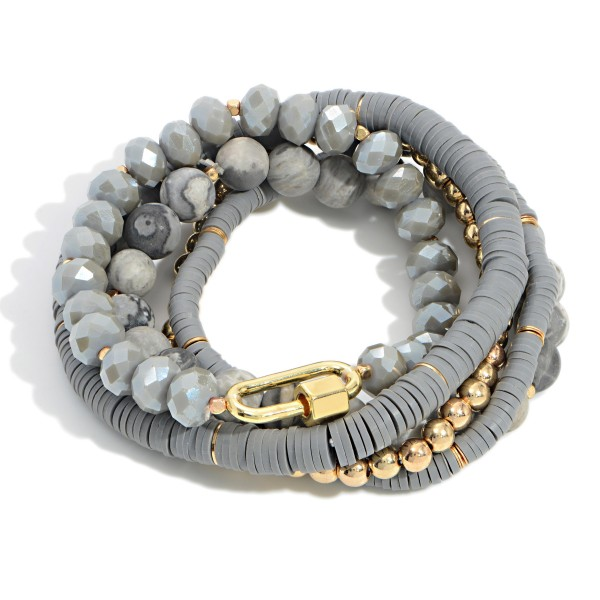 """Set of 5 Stackable and Stretchable Beaded Bracelets Featuring Heishi Beads  - Approximately 3"""" Wide"""