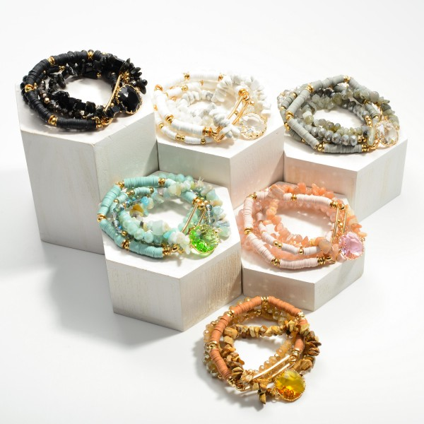 """Set of Five Beaded Stretch Bracelets Featuring Center Glass Stone and Gold Accents  - Approximately 3"""" Diameter"""
