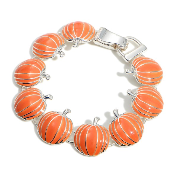 """Silver Pumpkin Bracelet Featuring Hook and Eye Closure.  - Approximately 2.5"""" in Diameter"""
