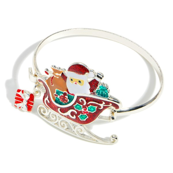 """Silver Bangle Bracelet Featuring a Santa Claus Pendant.  - Approximately 2.5"""" in Diameter"""