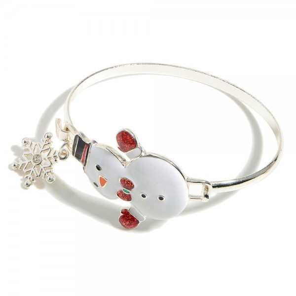 """Silver Details Holiday Bangle Cuff.   - Approximately 3"""" in Diameter"""