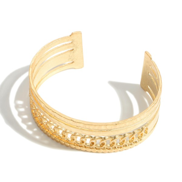 """Metal Cuff Bracelet Featuring Hammered Accents.   - Approximately 2.5"""" in Diameter"""