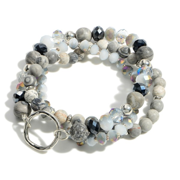 """Set of Three Beaded Bracelets Featuring Natural Stone Accents.   - Approximately 2.5"""" in Diameter"""
