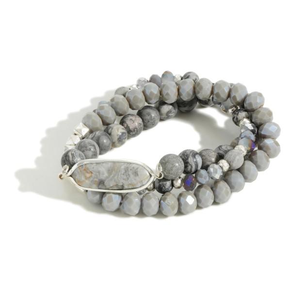 "Set of Three Beaded Bracelets Featuring Semi-Precious Stone  - Approximately 3"" Diameter"