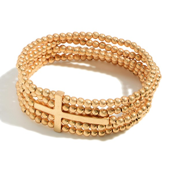 """Layered Beaded Bracelet Featuring Cross Accent.  - Approximately 2.5"""" in Diameter"""