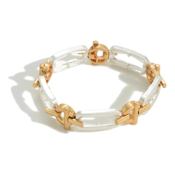 """Silver and Gold Chain Link Bracelet.   - Approximately 2.5"""" Diameter - Toggle Closure"""