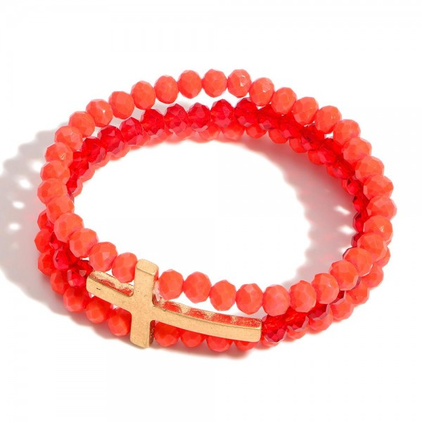 """Beaded Stretch Bracelet Featuring Cross.   -Approximately 3"""" in Diameter"""